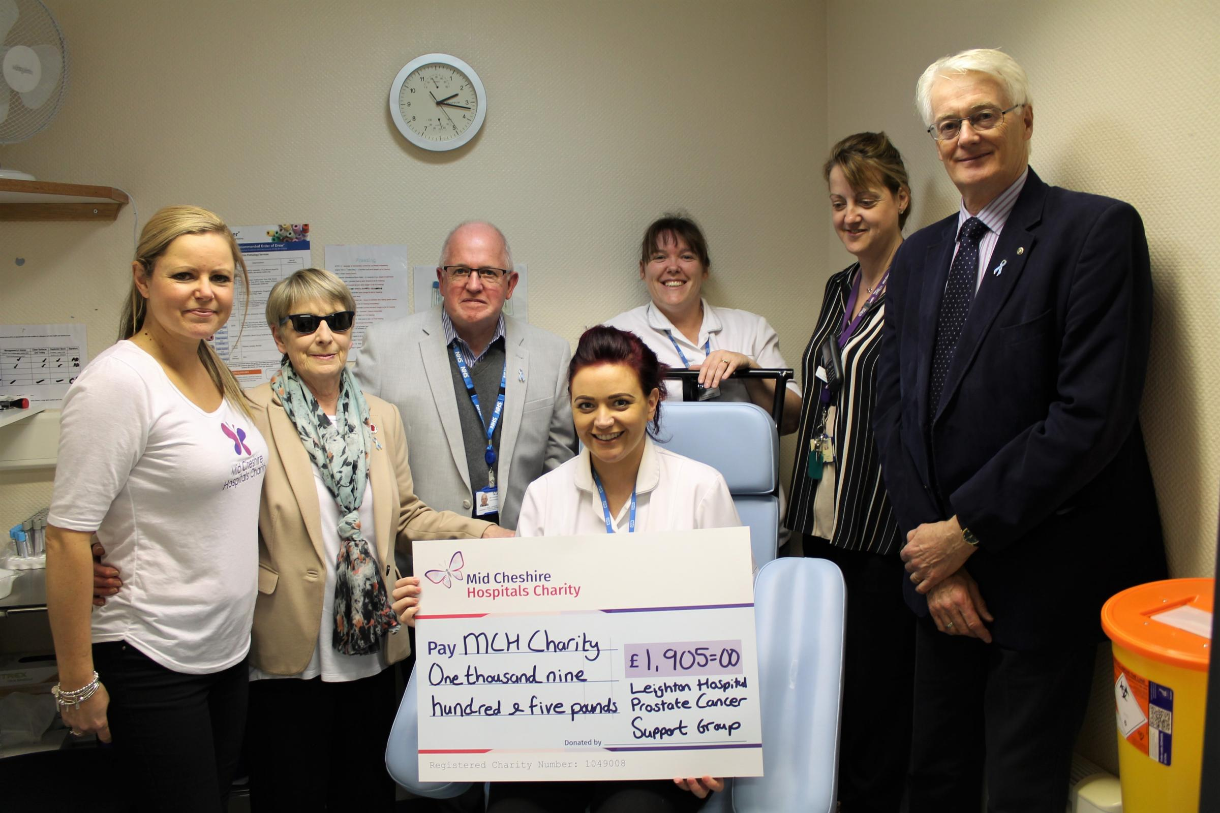 Emma Robertson, hospital charity manager, Wendy Laudon, group member, David Laudon chairman Leighton Hospital prostate cancer support group, Victoria Broster, phlebotomist, Donna George phlebotomy services manager; Claire Cree, office services manager Pic