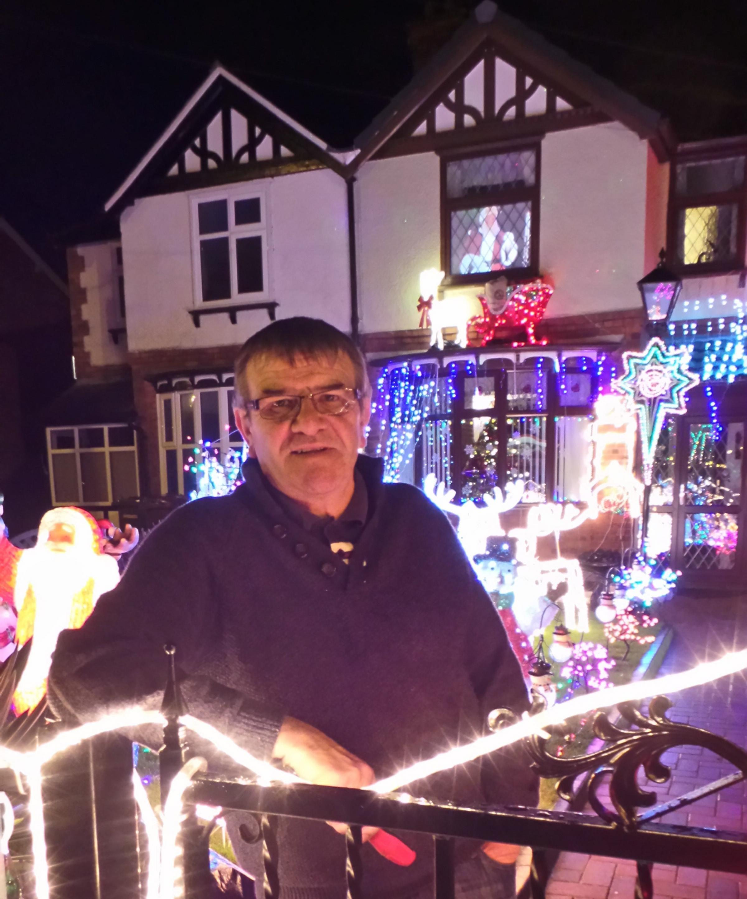 Grandad David Robinson transforms his home on Station Road in Winsford into a magical winter wonderland to raise funds for St Luke's Hospice