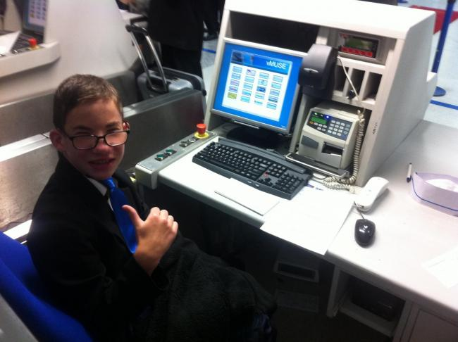 Ashley Woodthorpe, a pupil at Oaklands School in Winsford, on a visit to Manchester Airport