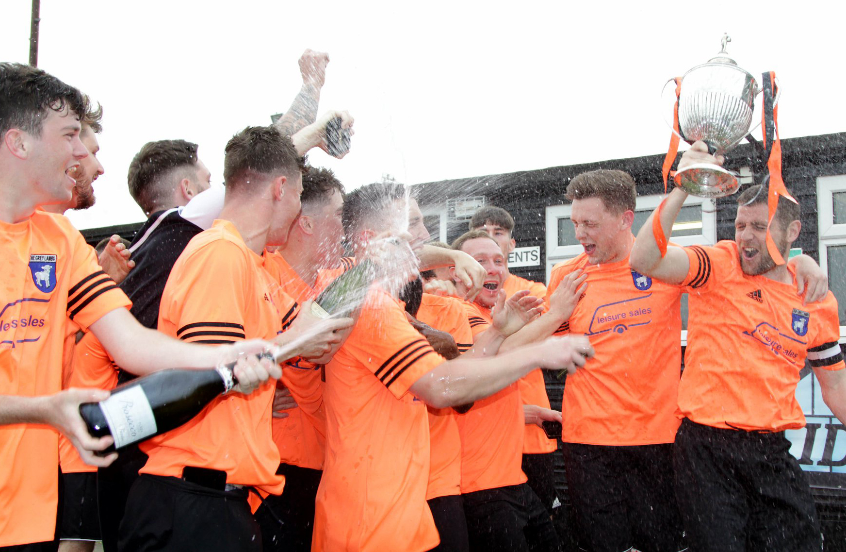 It was Lostock Gralam's turn to celebrate after beating Barnton Wanderers in the Mid-Cheshire District FA Saturday Challenge Cup final last season. The holders meet Winnington Avenue 1994 tomorrow. Picture: Karl Brooks Photography