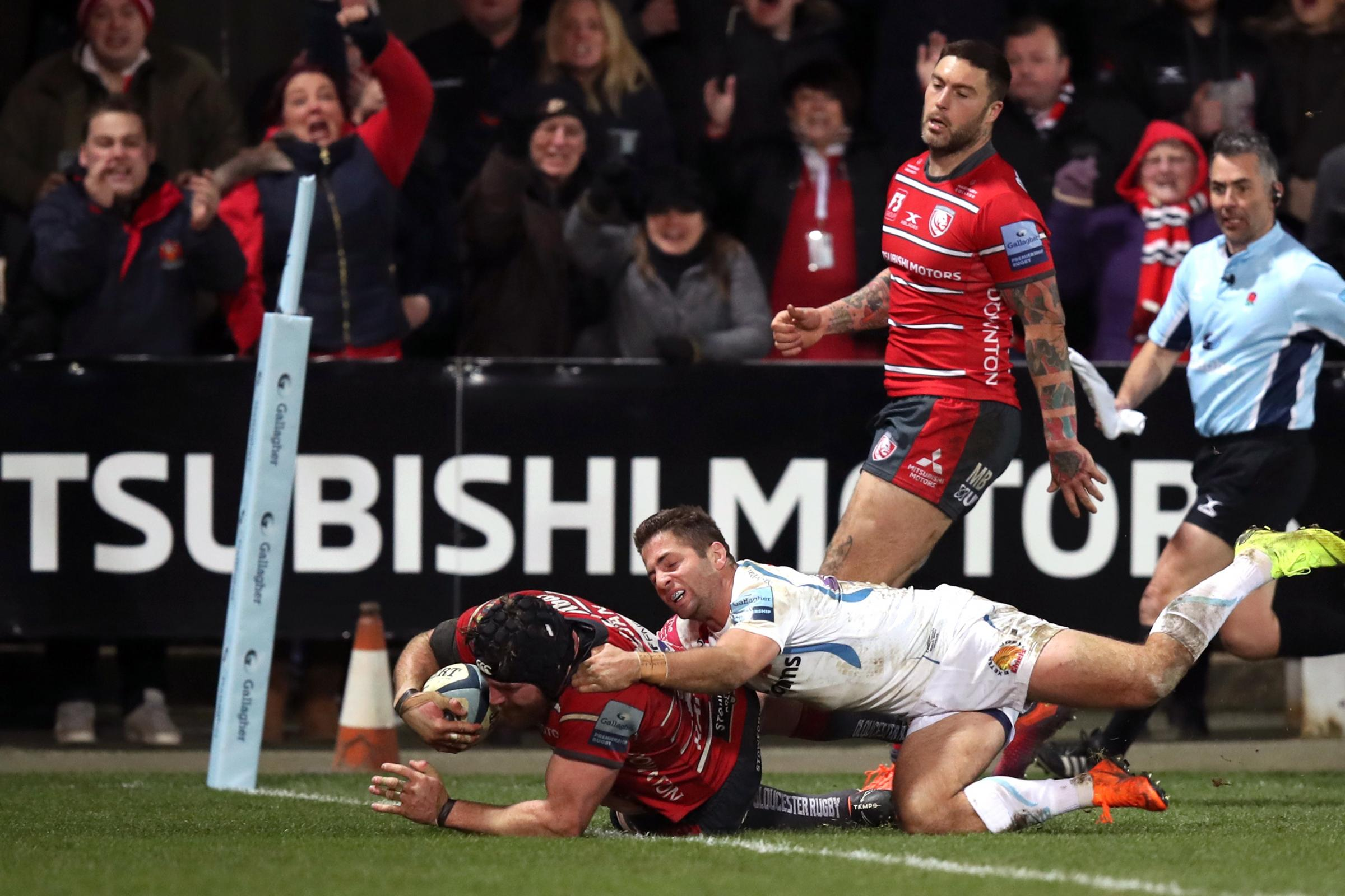 Ben Morgan, left, crashes over for Gloucester's winning try