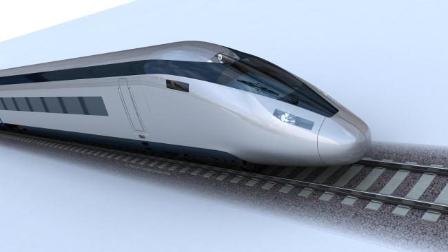 An artist's impression of a high-speed train