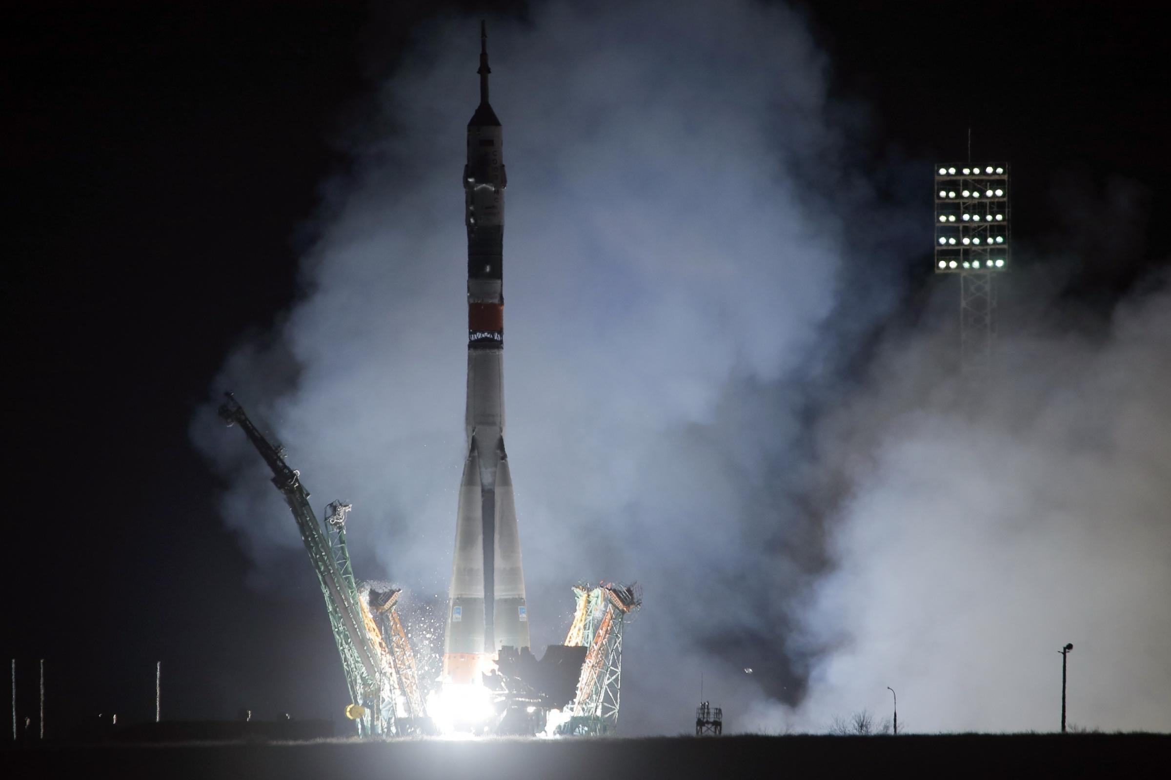 The Soyuz-FG rocket booster with Soyuz MS-12 space ship blasts off