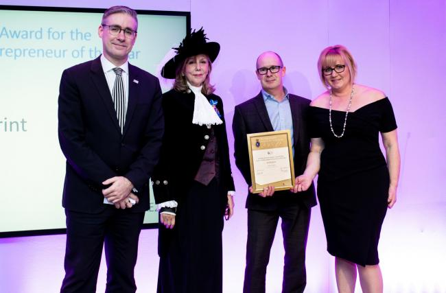 Paul Taylor, director of Cheshire Business Leaders, Alex Redmond MBE High Sheriff of Cheshire, Alan Ryan and his wife Carolyn as Alan receives the Entrepreneur of the Year Award