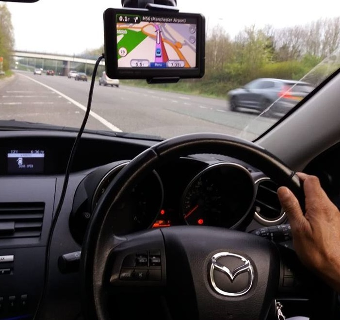 Police had to stop this car after spotting him driving with his satnav like this. Pic credit: NW Motorway Police