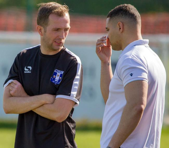 Winsford United manager Lee Duckworth, left, and coach Ferre Edwards have reason to be optimistic that Blues will fare much better in the North West Counties League's top-flight this season. Picture: Kevin Wright