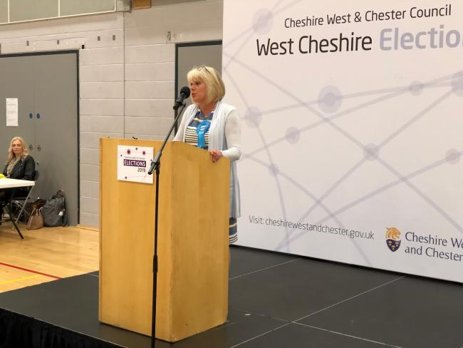 Cllr Lynn Riley makes a speech following the 2019 local elections