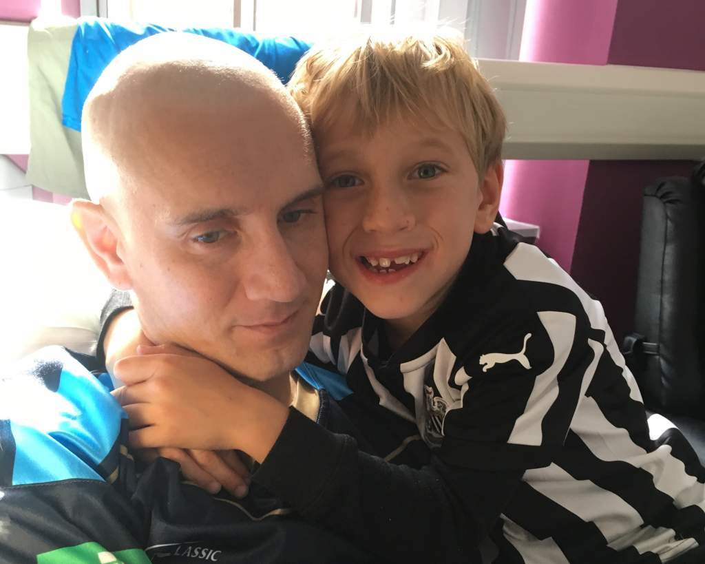 Peter McCleave and his son Max, eight, who wrote a letter appealing for people to help to save his dad's life by becoming a blood stem cell donor